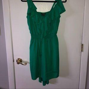 Green ruffly dress!!